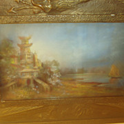 Asian Pastel In Ornate Dragon Gesso Frame 19th Century