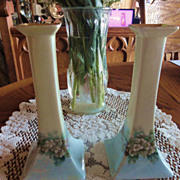 REDUCED Pair Of Limoges  Bernardaud  (B. & Co,) Hand Painted 8 inch Candle Holders-GREATLY ...