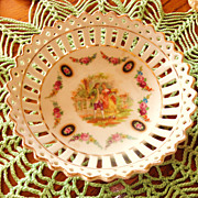 "Reticulated Hand Painted ""Courting Couple""  Porcelain Dish - Germany"