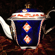 REDUCED Gorgeous Imari Style Hand Painted English Teapot - Late 19th Early 20th Century