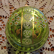 Victorian Hand Enameled Glass Hinged Vanity Jar