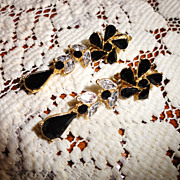 REDUCED ExquisiteTrifari  Black & Clear Flower Rhinestone Dangling Earrings