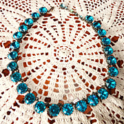 REDUCED Scrumptious Vintage Austrian Blue Crystal  Choker -