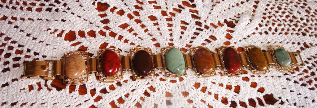 Vintage German Goldtone Fancy Filigree Multi Color Gem Stone Chunky Bracelet