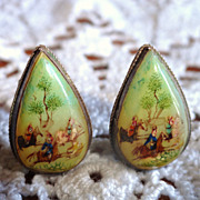 Fabulous Vintage Persian Mother Of Pearl Hand Painted Scene Clip Earrings