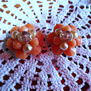 Vintage W. Germany Soft Tangerine Beaded Clip Earrings
