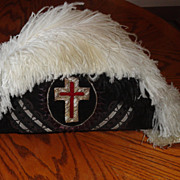 Masonic Knights Templar Chapeau Hat - Early 1900's