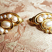 Fabulous Trifari TM Faux Pearl and Goldtone Clip Earrings