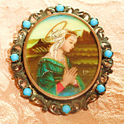 Stunning Signed Miniature Portrait Of Madonna Set In 800 Silver Brooch/Necklace
