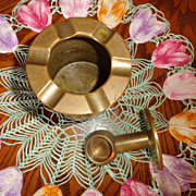Vintage Solid Brass Wall Mount Ashtray