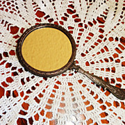 French Vintage Ornate Hand Held Mirror