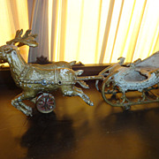 Hubley Cast Iron Sleigh With Reindeer - Circa 1900