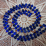 REDUCED Luscious And Long Vintage Cobalt Blue Glass Beaded Necklace