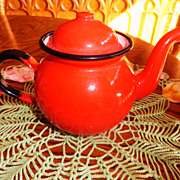 Stunning Vintage Red Enamelware Teapot - Made In Poland
