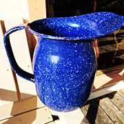Large Vintage Blue Graniteware WWII  Pitcher