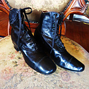 Victorian Women's Black Leather Shoes/Boots