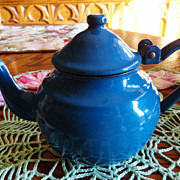 REDUCED Vintage Beautiful Blue Enamelware Small Teapot