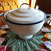 Vintage White Enamelware Soup Tureen