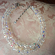 Dazzling Swarovski Crystal Aurora Borealis Three Strand Necklace