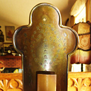 Gorgeous Antique Arts And Crafts Brass Wall Sconce