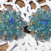 Ice Blue Aurora Borealis Clip On Earrings