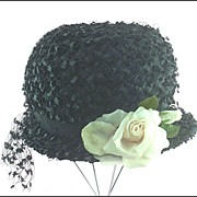 SOLD Vintage Romantic Textured Straw Spring Hat ~ Velvet Millinery Rose ~ by CAPRICE