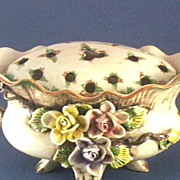SOLD Pottery Centerpiece with Roses & Flower Frog (Arranger) Cover ~ Hand-Painted