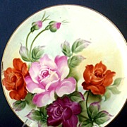 SOLD Striking Porcelain Hand-Painted Bouquet of Roses Cabinet Plate ~ Numbered