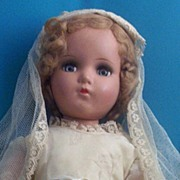 SOLD 1930's Composition Bride Doll & Original Bridal Outfit ~ Mohair Wig