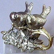 SOLD Victorian Figural Silver-Plate Love Birds-on-Branch Salt & Pepper Set
