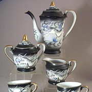 SOLD 13 Pc Vintage Kutani Dragonware - Moriage Hand Painted Tea Set