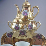 SOLD ( 13 Pc) 22K Gold-Plated Porcelain Demitasse Tea Set with Romantic Courtship Scene - Numb