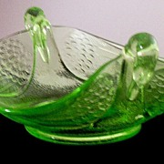 SOLD Circa 30's Depression-Era Fenton Vaseline Glass Swan-Handle Bon Bon Dish