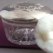 SOLD Signed Reed & Barton 24% Lead Crystal & Silverplate Powder Jar & Puff