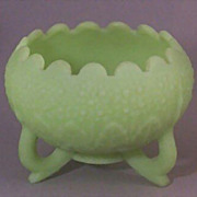 SOLD Fenton 3-Toed Custard Glass Footed Bowl - Leaf & Orange Tree Pattern