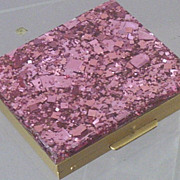 SOLD Vintage Hot Pink Confetti Lucite Powder Compact