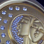 SOLD Collectible Estee Lauder Gemini Zodiac Rhinestone Compact -Unused & Box & Pouch