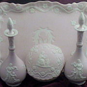 SALE 7  Pc Vintage Pink Jasperware-Style Dresser Set with Cherubs & Maiden