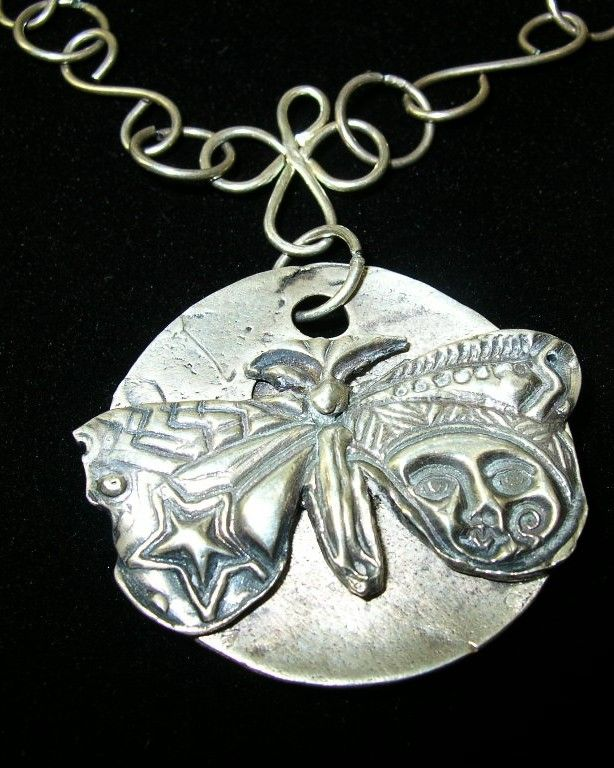 Silver Clay Butterfly Pendant Necklace