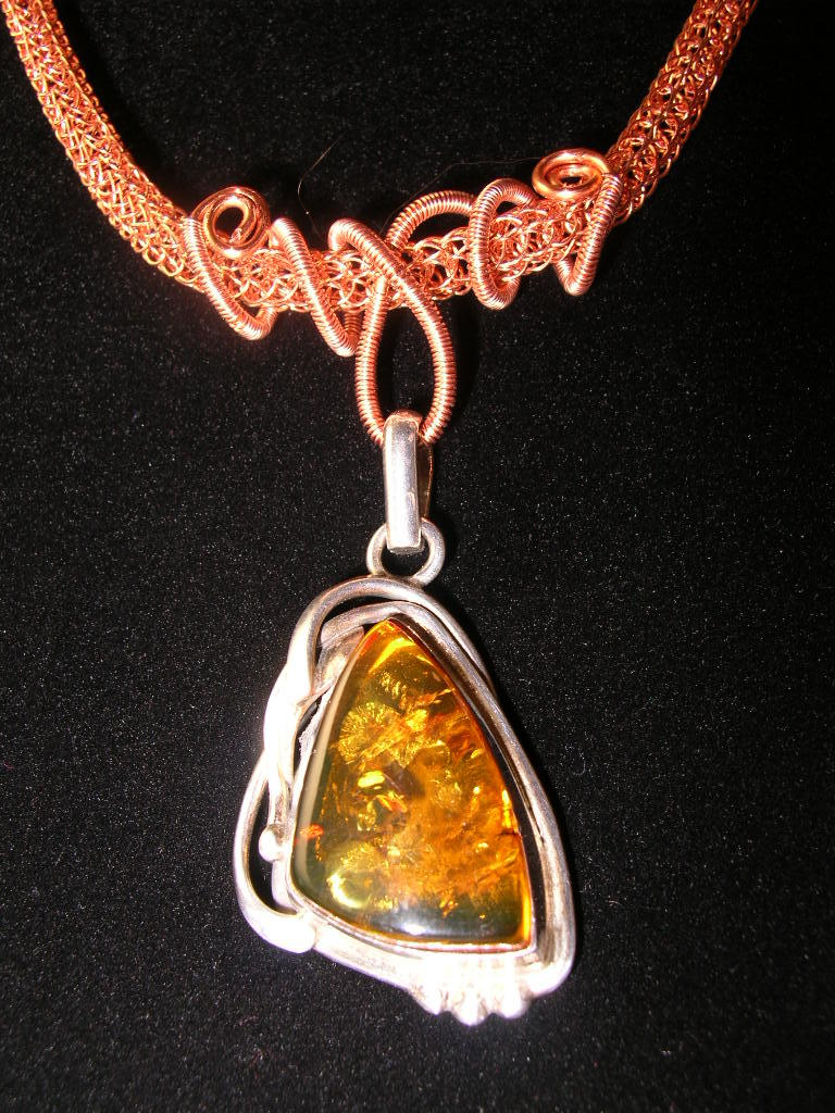 Viking Knit Copper Necklace With Amber Pendant