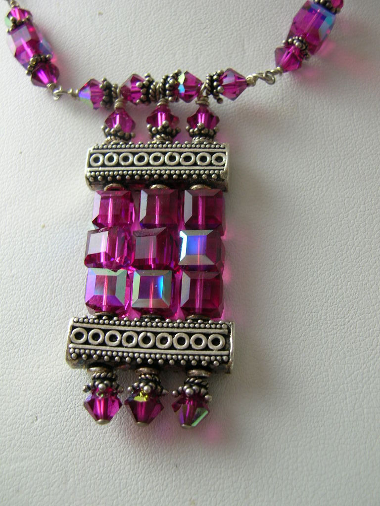 Fuchsia Art Deco Inspired Pendant Necklace