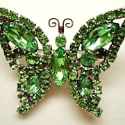 Vintage Light Green Rhinestone Butterfly Pin/Brooch ~ Unsigned