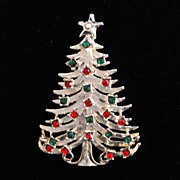 TANCER II Christmas Tree Pin ~ Silver Tone & Rhinestone