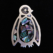 TAXCO Mexico ~ Sterling, Abalone & Onyx Penguin Pin w/Pendant Conversion