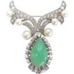 Sterling Chrysoprase, Pearl and Cubic Zirconia Pin