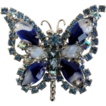 Vintage blue givr� art glass marquis rhinestone butterfly pin