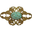 Vintage Miriam Haskell gilt brooch with imitation turquoise art glass cabochon