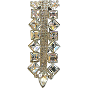 Vintage Art  Deco Clear Rhinestone Dress Clip