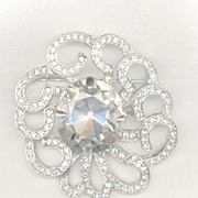 Huge Retro Rhinestone Brooch