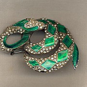 Green Enamel and Rhinestone Snake Brooch